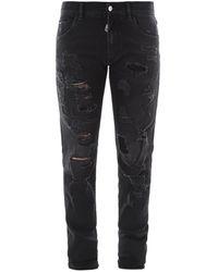 Dolce & Gabbana Distressed Skinny-fit Jeans - Black