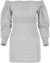 Philosophy Di Lorenzo Serafini Melange Gray Cotton Blend Dress Nd