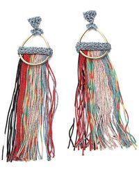 Missoni Oversized Tassel Detail Hoop Earrings - Red