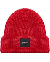 Off-White c/o Virgil Abloh Logo Knitted Beanie - Red
