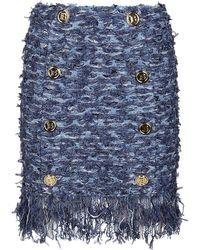 Balmain Fringe Detail Tweed Skirt - Blue
