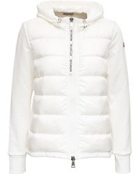 Moncler Quilted Panel Hooded Jacket - White