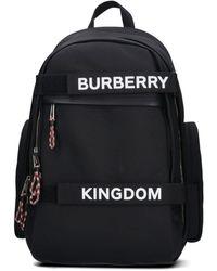 Burberry Logo Printed Backpack - Black