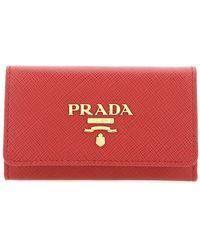 Prada Logo Key Ring Case - Red