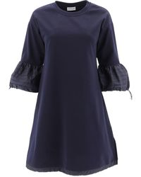 Moncler Flare Sleeve Dress - Blue