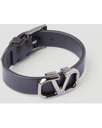 Valentino V Logo Wide Leather Bracelet - Black