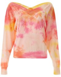 MSGM Brush Stroke Sweetheart Neck Blouse - Pink