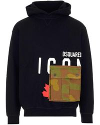 DSquared² Icon Camouflage Pocket Hoodie - Black