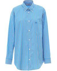 Balenciaga Bb Logo Striped Shirt - Blue