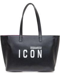 DSquared² Icon Printed Tote Bag - Black