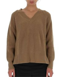 MICHAEL Michael Kors V Neck Ribbed Sweater - Brown