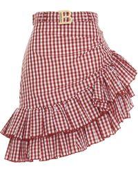 Balmain Ruffled Mini Skirt - Red