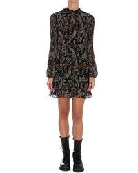 Liu Jo Paisley Print Ruffled Dress - Black