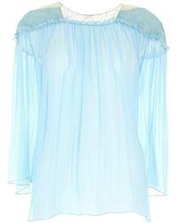 Alberta Ferretti Light Blue Silk Top Nd