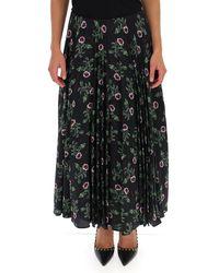 Valentino Floral Pleated Maxi Skirt - Black