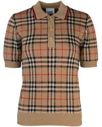 Burberry Vintage Check Knit Polo Shirt - Natural