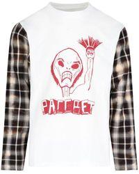 Rassvet (PACCBET) Contrasting-sleeve Graphic Printed Sweatshirt - White