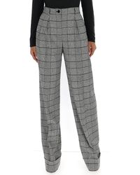 Dolce & Gabbana Checked Wide Leg Trousers - Grey