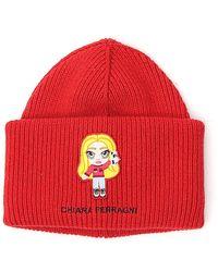 Chiara Ferragni Logo Patch Ribbed-knit Beanie - Red