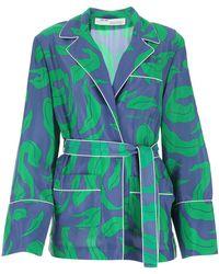 Off-White c/o Virgil Abloh Leaf-print Pyjama-style Shirt - Blue