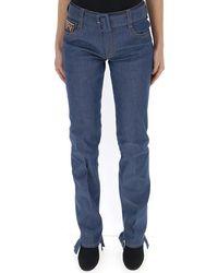 Prada Belted Logo Jeans - Blue