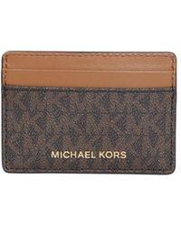 MICHAEL Michael Kors Jet Set Card Holder With Signature Logo Print - Brown