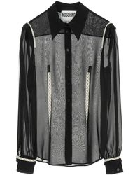 Moschino Georgette Silk Shirt With Embroideries - Grey