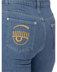 Chiara Ferragni Eye Logo Embroidered Bermuda Denim Shorts - Blue