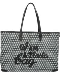 Anya Hindmarch Net Sustain I Am A Plastic Bag Large Leather-trimmed Printed Coated-canvas Tote - Blue