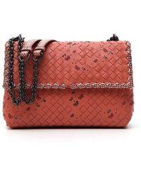 Bottega Veneta Olimpia Intrecciato Shoulder Bag - Pink