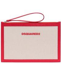 DSquared² Logo Print Zipped Clutch Bag - White