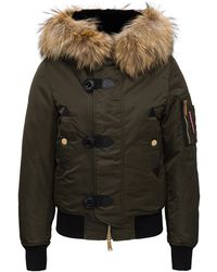 DSquared² Hooded Down Jacket - Green