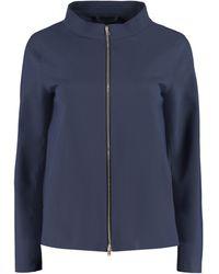 Herno Funnel Neck Zip-up Jacket - Blue