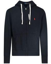 Polo Ralph Lauren Hooded Sweatshirt Zip Logo - Black
