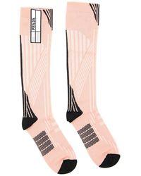 Prada Intarsia Long Socks - Pink