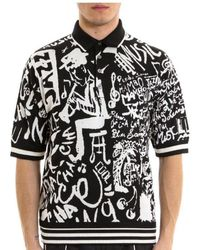 Dolce & Gabbana Music Print Polo Shirt - Black