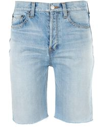 Balenciaga Frayed Edge Denim Shorts - Blue