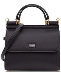 Dolce & Gabbana Medium Sicily 58 Bag In Calfskin And Cashmere Split-grain Leather - Black