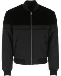 Dolce & Gabbana Velvet Panel Bomber Jacket - Black