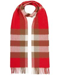 Burberry Check Print Scarf - Red