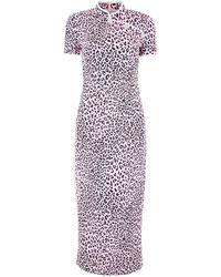 Alessandra Rich Cheetah Print Qipao Dress - Multicolor