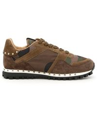 Valentino - Garavani Rockstud Suede And Camouflage-print Shell Sneakers - Lyst