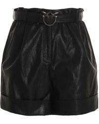 Pinko Faux Leather Shorts - Black