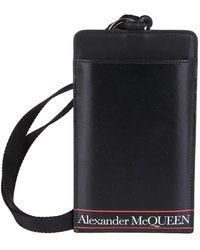 Alexander McQueen Logo Print Strapped Cardholder - Black