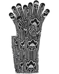 Prada Embroidered Wool Blend Gloves M - Multicolour