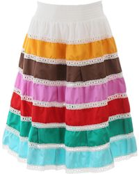 Prada Duchess-striped Smocked-waist Skirt - Multicolour