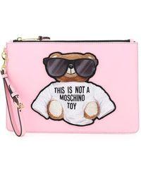 Moschino Teddy Bear Print Wristlet Clutch - Pink