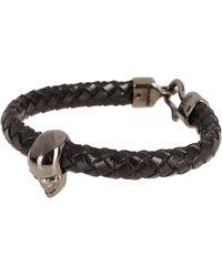 Alexander McQueen Skull Braided Bracelet - Black