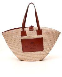 Etro Straw Handbag With Logo - Natural