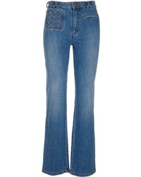 See By Chloé Braided Pocket Flared Jeans - Blue